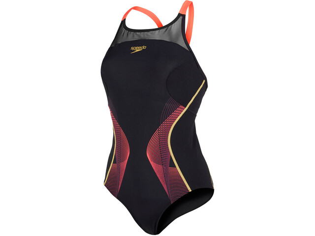 speedo Endurance+ Fit Pinnacle Maillot de bain Femme, black/pyscho red/global gold